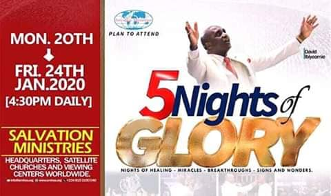 5 Nights Of Glory Starts From 20th - 24th January 2020