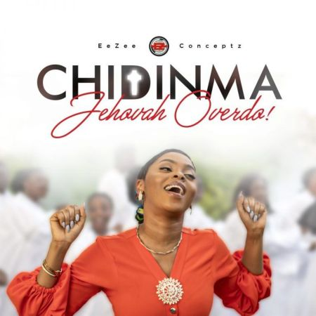 Chidinma wearing a red clothe and necklace with 2 hands raised up singing Jehovah overdo